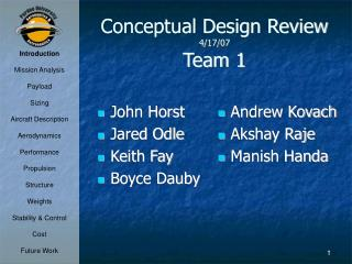 Conceptual Design Review 4/17/07 Team 1