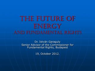 The future of energy  And fundamental rights