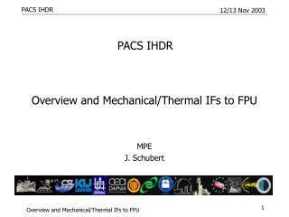 Overview and Mechanical/Thermal IFs to FPU