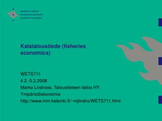 Kalataloustiede (fisheries economics)
