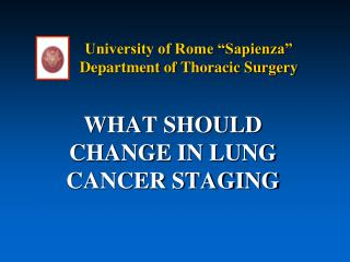 "University of Rome ""Sapienza"" Department of Thoracic Surgery"