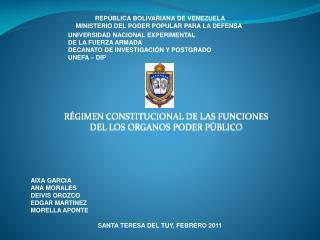 RÉGIMEN CONSTITUCIONAL DE LAS FUNCIONES  DEL LOS ORGANOS PODER PÚBLICO