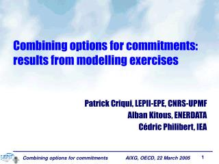 Combining options for commitments: results from modelling exercises