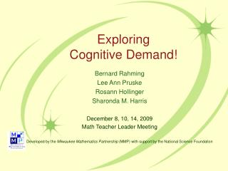 Exploring  Cognitive Demand