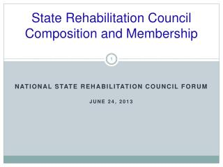 State Rehabilitation Council Composition and Membership