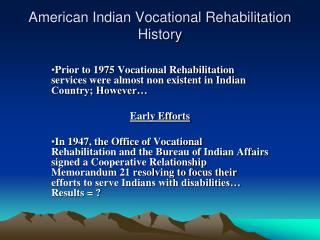 American Indian Vocational Rehabilitation History
