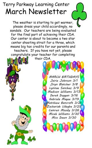 Terry Parkway Learning Center March Newsletter