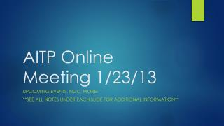 AITP  Online  Meeting  1/23/13
