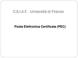C.S.I.A.F. -  Universit� di  Firenze