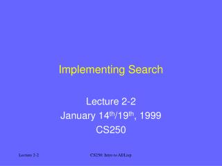 Implementing Search