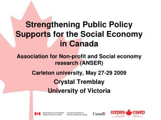 Strengthening Public Policy Supports for the Social Economy in Canada