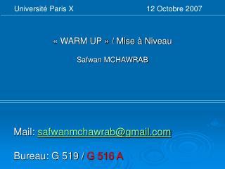 « WARM UP » / Mise à Niveau Safwan MCHAWRAB