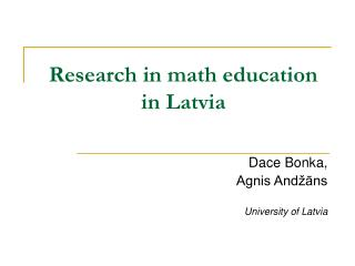 Research in math education in Latvia