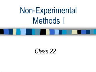 Non-Experimental Methods I