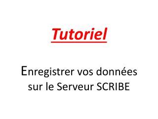 Tutoriel E nregistrer vos données sur le Serveur SCRIBE