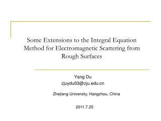 Some Extensions to the Integral Equation Method for Electromagnetic Scattering from Rough Surfaces