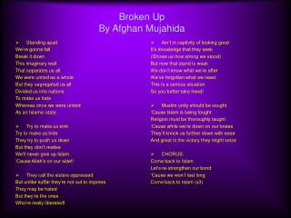 Broken Up By Afghan Mujahida