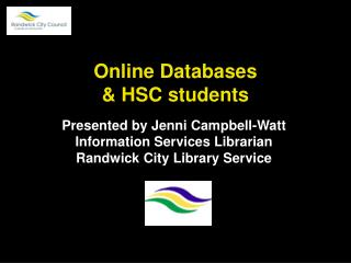 Online Databases   HSC students