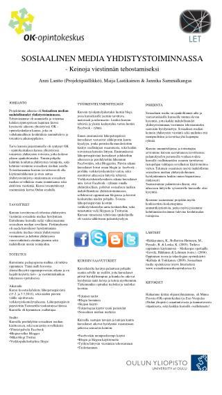 SOSIAALINEN MEDIA YHDISTYSTOIMINNASSA -  Keinoja viestinnän tehostamiseksi