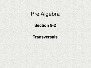 Pre Algebra