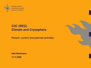 CliC (NEG) Climate and Cryosphere