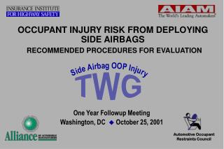 OCCUPANT INJURY RISK FROM DEPLOYING SIDE AIRBAGS RECOMMENDED PROCEDURES FOR EVALUATION