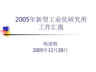2005 年新型工业化研究所 工作汇报