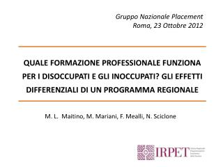 Gruppo Nazionale  Placement Roma, 23  Ottobre  2012