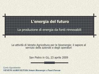 L'energia del futuro La produzione di energia da fonti rinnovabili