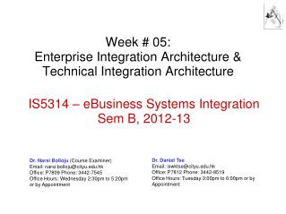 Week # 05: Enterprise Integration Architecture & Technical Integration Architecture
