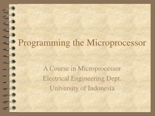 Programming the Microprocessor