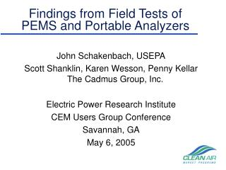 Findings from Field Tests of PEMS and Portable Analyzers