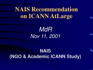 NAIS Recommendation on ICANN AtLarge