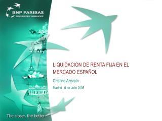 LIQUIDACION DE RENTA FIJA EN EL MERCADO ESPAÑOL Cristina Arévalo  Madrid , 6 de Julio 2005