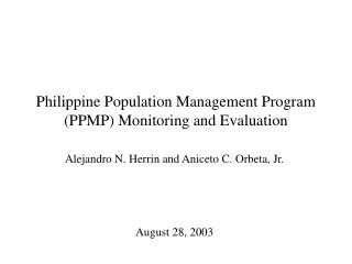 Philippine Population Management Program (PPMP) Monitoring and Evaluation