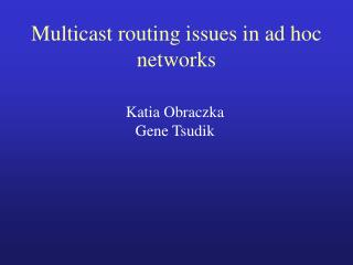 Multicast routing issues in ad hoc networks