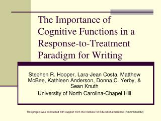 The Importance of Cognitive Functions in a Response-to-Treatment Paradigm for Writing