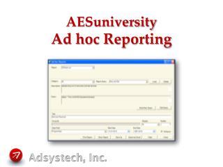 AESuniversity Ad hoc Reporting