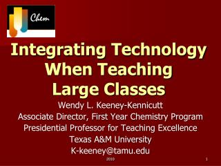 Integrating Technology When Teaching Large Classes