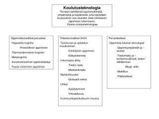Oppimisteoreettiset perusteet Hajautettu kognitio Yhteisöllinen oppiminen