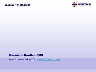 Macros in Kentico CMS