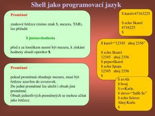Shell jako programovací jazyk