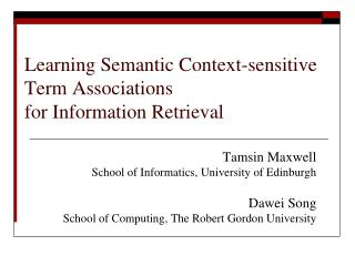 Learning  Semantic Context-sensitive  Term Associations  for  Information Retrieval