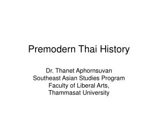 Premodern Thai History