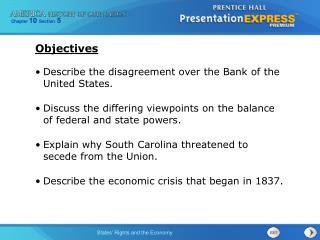 Describe the disagreement over the Bank of the United States.