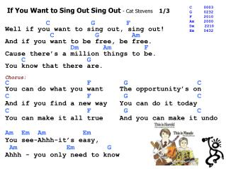 If You Want to Sing Out Sing Out  - Cat Stevens     1/3