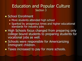 Education and Popular Culture Section 3