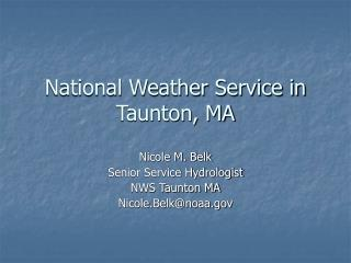 National Weather Service in Taunton, MA