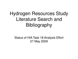 Hydrogen Resources Study Literature Search and Bibliography