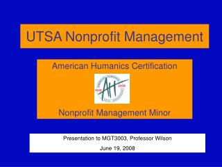 UTSA Nonprofit Management